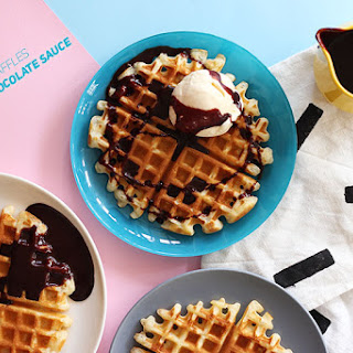 Olive Oil Waffles with Dark Chocolate Sauce
