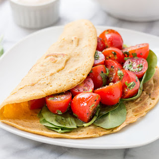 Vegan Savory Chickpea Pancakes with Tomatoes + Spinach