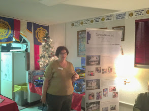 Photo: Our speaker from Genesis House, Inc.  Our Chapter donated $500.00 to their charity.