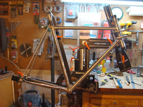 Photo: All the main tubes are mitered and fitted up, along with the prepped lugs, almost ready to tack.