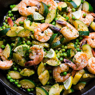 15 Minute Lemon Dill Shrimp, Zucchini & Peas