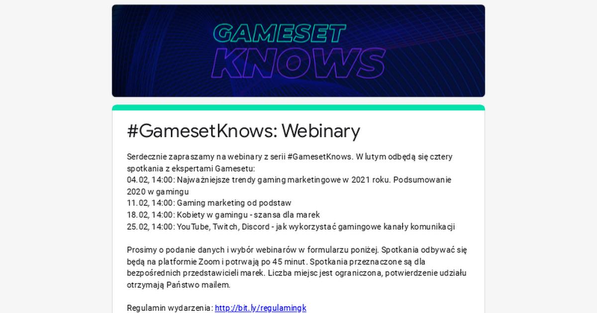#GamesetKnows: Webinary