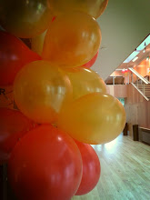 Photo: Balloons adorn the foyer of the Colyer-Fergusson building on the morning of the Sunday concert, the final event as part of Summer Music Week.