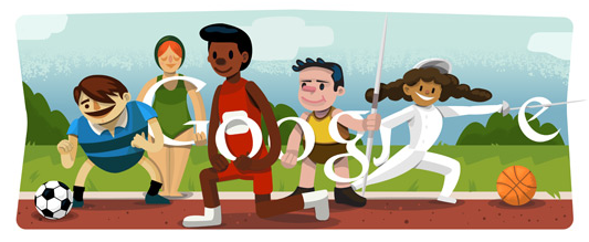 Photo: To celebrate the Olympics opening ceremony, Google and other search engines have special logos for the event. http://selnd.com/P65Fv6