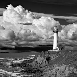 PIGEON POINT LIGHT CALIFORNIA BW by Gerry Slabaugh - Black & White Buildings & Architecture ( clouds, california, lighthouse, bw, light, coast, pigeon point,  )