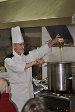 Photo: Michael adds a little something to the soup. Yes, You guessed it! HONEY