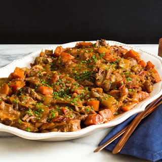 Jewish-Style Braised Brisket With Onions and Carrots.
