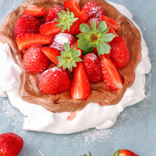 Hazelnut Pavlova Cake with Strawberries.