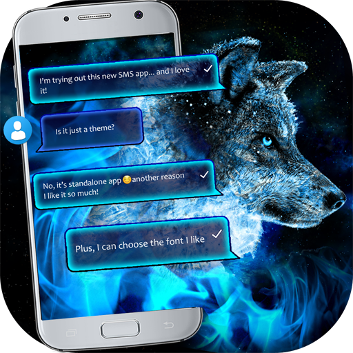 Ice Fire Wolf SMS Theme (app)