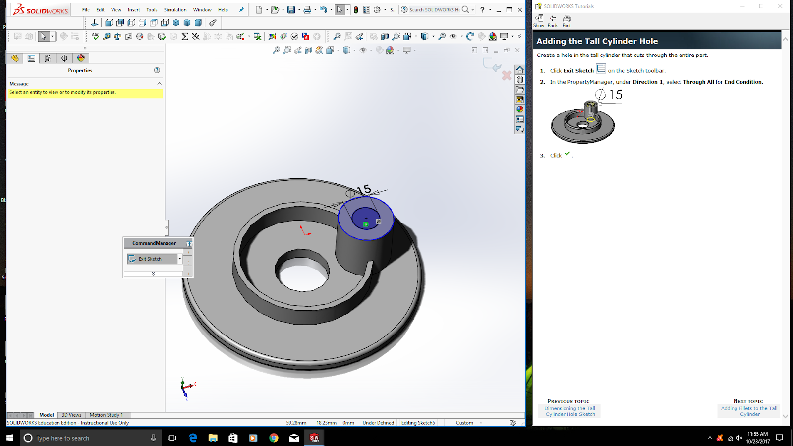 how to get command manager to appear solidworks 2016