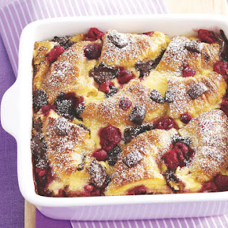 Chocolate and Raspberry Croissant Pudding.