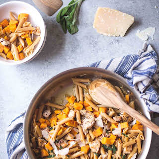 Skillet Chicken Pasta with Sweet Potato and Crispy Sage.