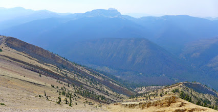 Photo: View from below the lookout - looking down at the South Fork of the Sun River. The CDT is down there too.