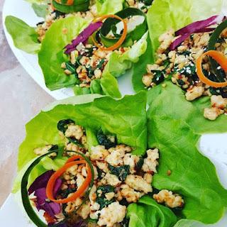 Spinach & Chicken Thai Lettuce Wraps.