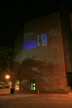 """Photo: """"Opening"""", 2012, hd single channel video, 7:25 min. trt. (loop), outdoor projection 05/11/12 on the Surgery-Brain Research Pavilion, University of Chicago by Marco G. Ferrari, MFA Candidate 2013, Department of Visual Arts & Jared Clemens, PhD Candidate, Department of Computational Neuroscience. For The University of Chicago, Reva and David Logan Center for Creativity and Performing Arts/Office of the Provost Arts