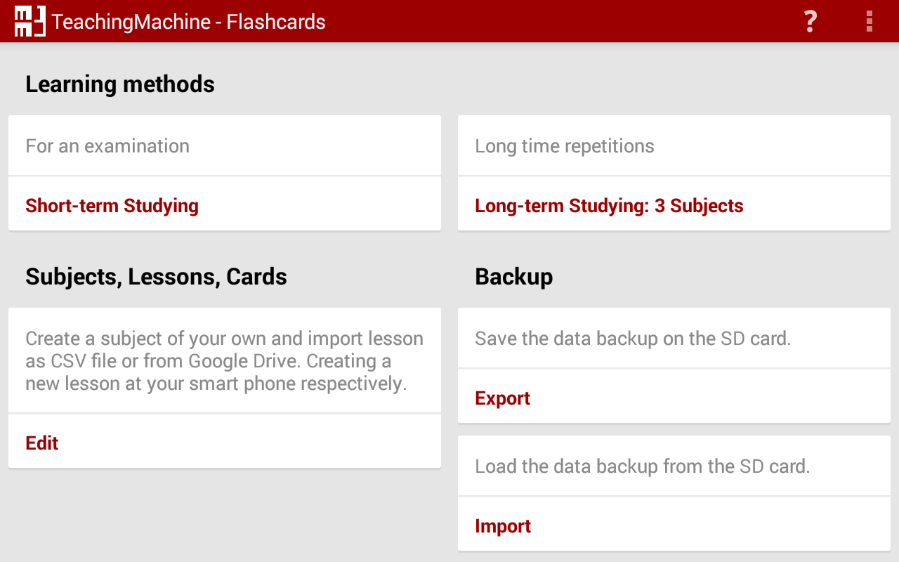 TeachingMachine - Flashcards- screenshot