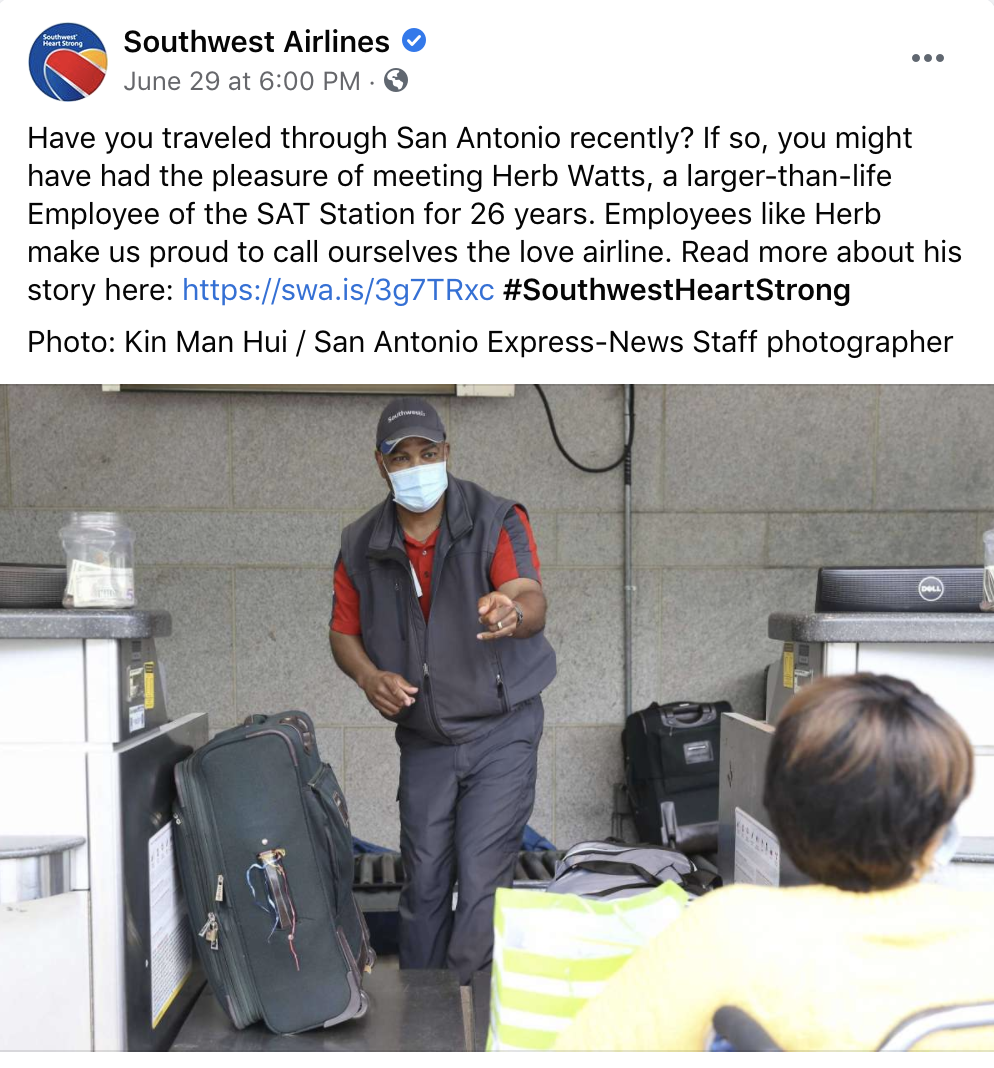 Southwest Airlines Facebook Post Example