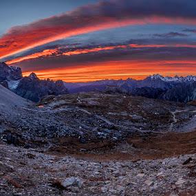 Morning Mood by Jaro Miščevič - Landscapes Mountains & Hills ( skyline, mountains, sky, sunrise, stones, morning, colours )