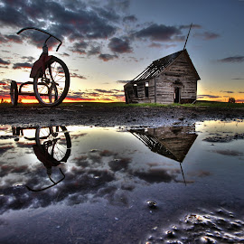 Days Past by Eric Demattos - Buildings & Architecture Decaying & Abandoned ( school house, reflection, tricycle, sunset, eric demattos, puddle )
