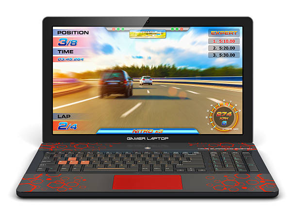 Gamer laptop with video game