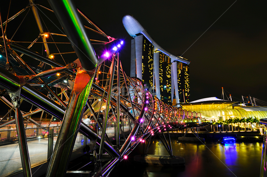 Singapore at Night by Jbern Eugenio - Buildings & Architecture Bridges & Suspended Structures