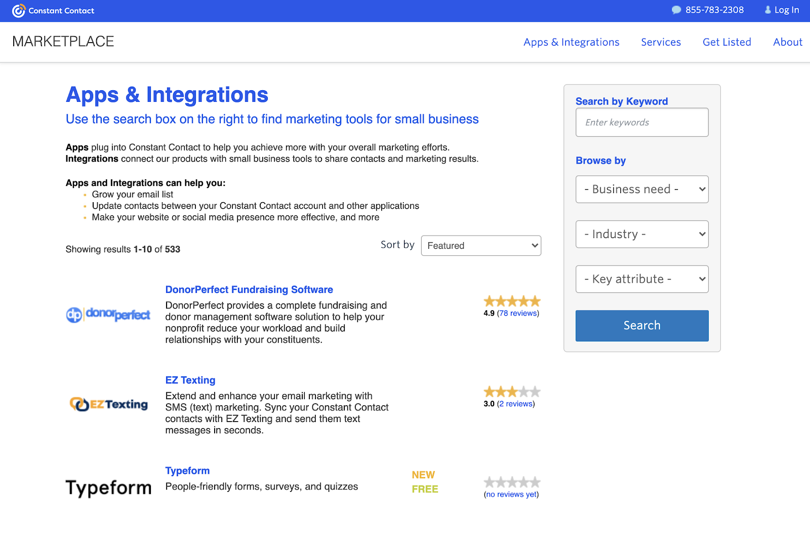 Constant contact apps and integrations page