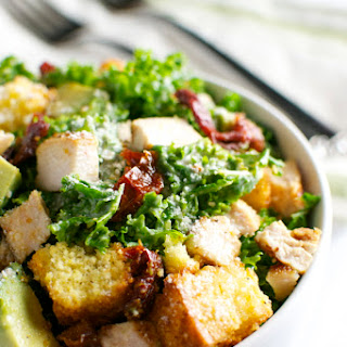 Kale Ceasar Salad with Sun Dried Tomatoes and Cornbread Croutons
