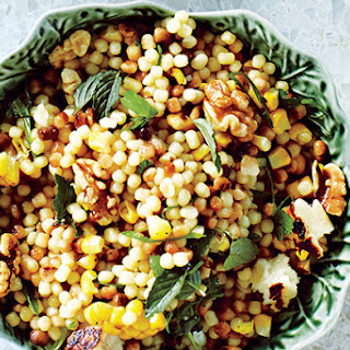 Corn and Fregola with Grilled Halloumi Cheese.