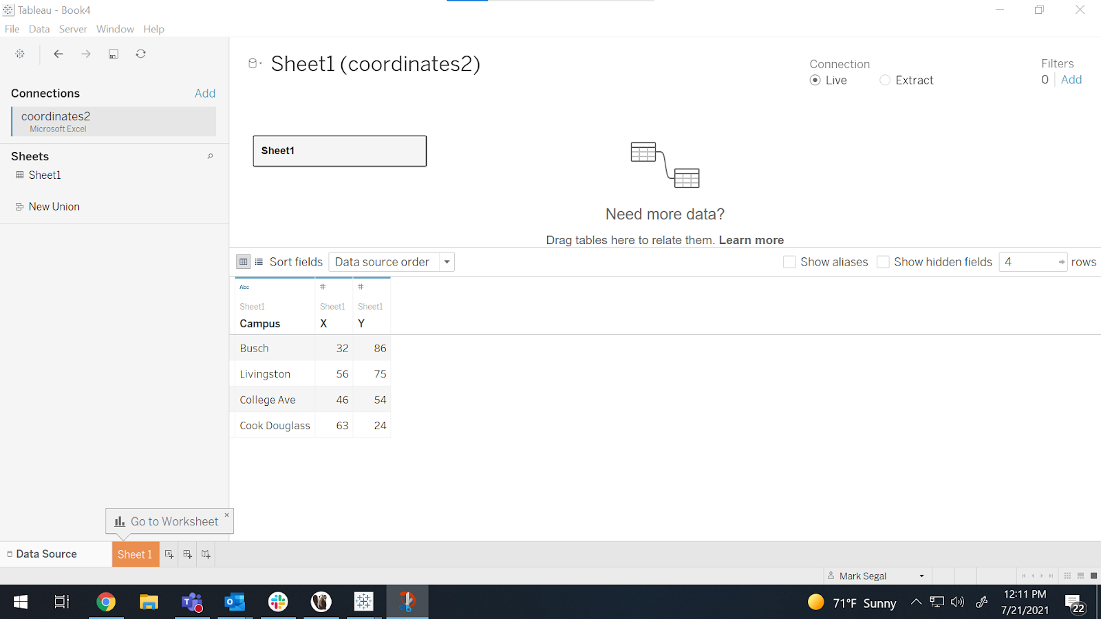 Tableau screenshot presenting the data from the spreadsheet