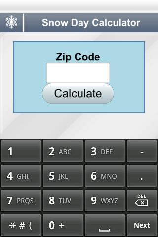 Snow Day Calculator screenshot for Android