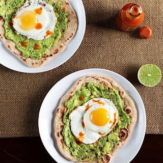Avocado and Egg Breakfast Pizza.
