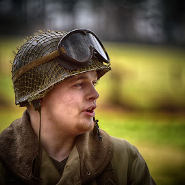 by Marco Bertamé - People Portraits of Men ( ww2, goggles, young, soldier, helmet, profile, military, american, man, us )