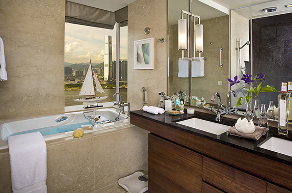 Luxury en-suite bathroom at Splendid residences in CBD, Hong Kong