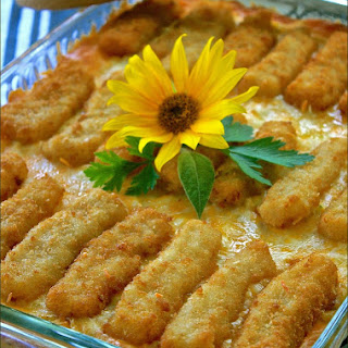 Cheesy Weeknight Fish Stick Casserole.