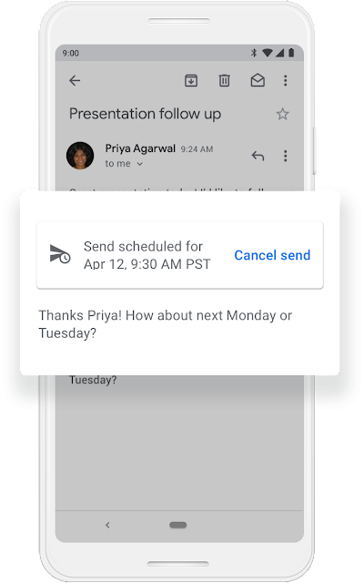 A Google phone screen that shows a quick email response and a scheduled date when it will be sent.