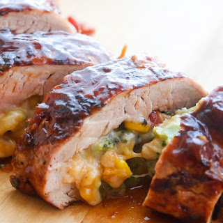 Cheddar Vegetable Stuffed BBQ Pork Tenderloin.