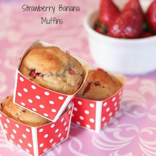 Strawberry Banana Muffins made with Greek Yogurt