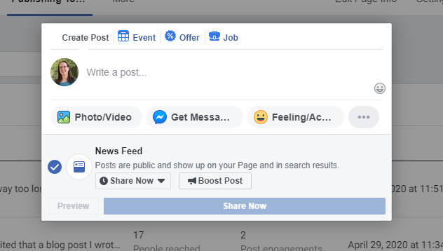 create a post pop-up in Facebook