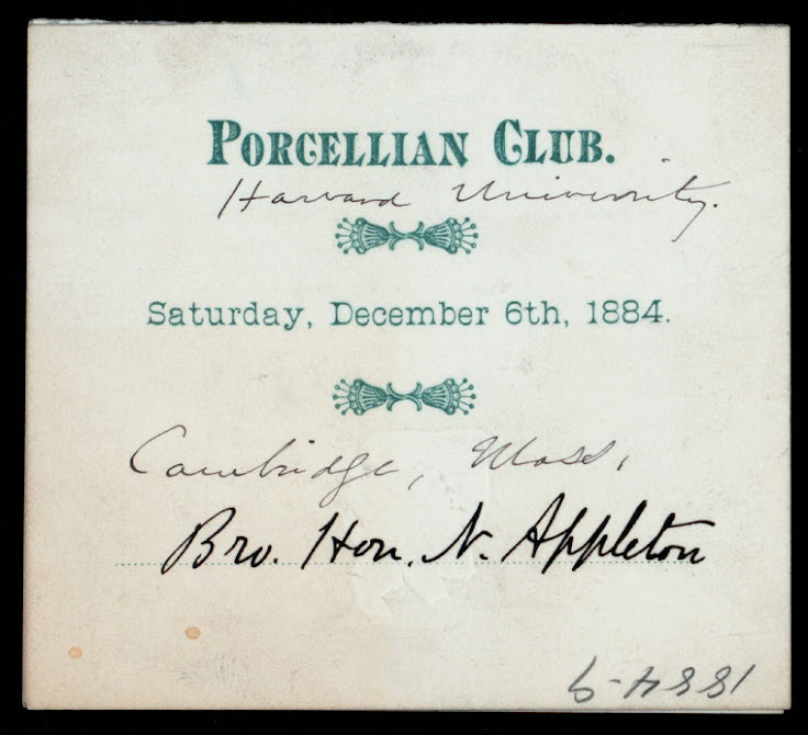 An 1884 invitation to the Porcellian Club.
