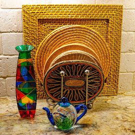Colorful glass objects with mats by Dee Haun - Artistic Objects Glass ( colofful, 180214f0127rce1, art, glass, woven mats, mats, colored, artistic objects,  )