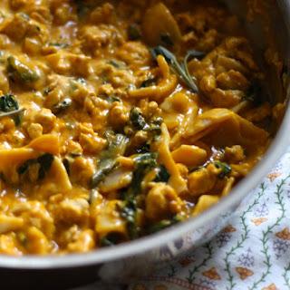 Pumpkin Alfredo Chicken Skillet Pasta - gluten free, dairy free, soy free.