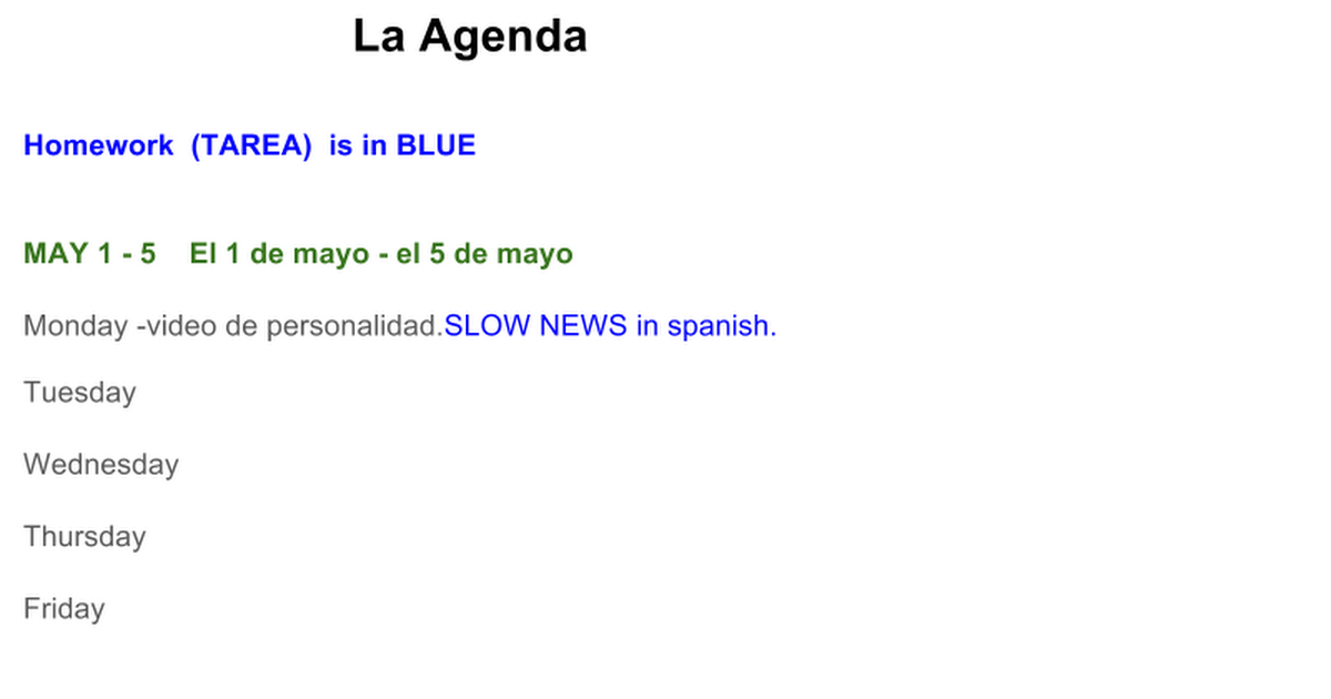 SPANISH Daily Plans Google Slides – La Misma Luna Worksheet