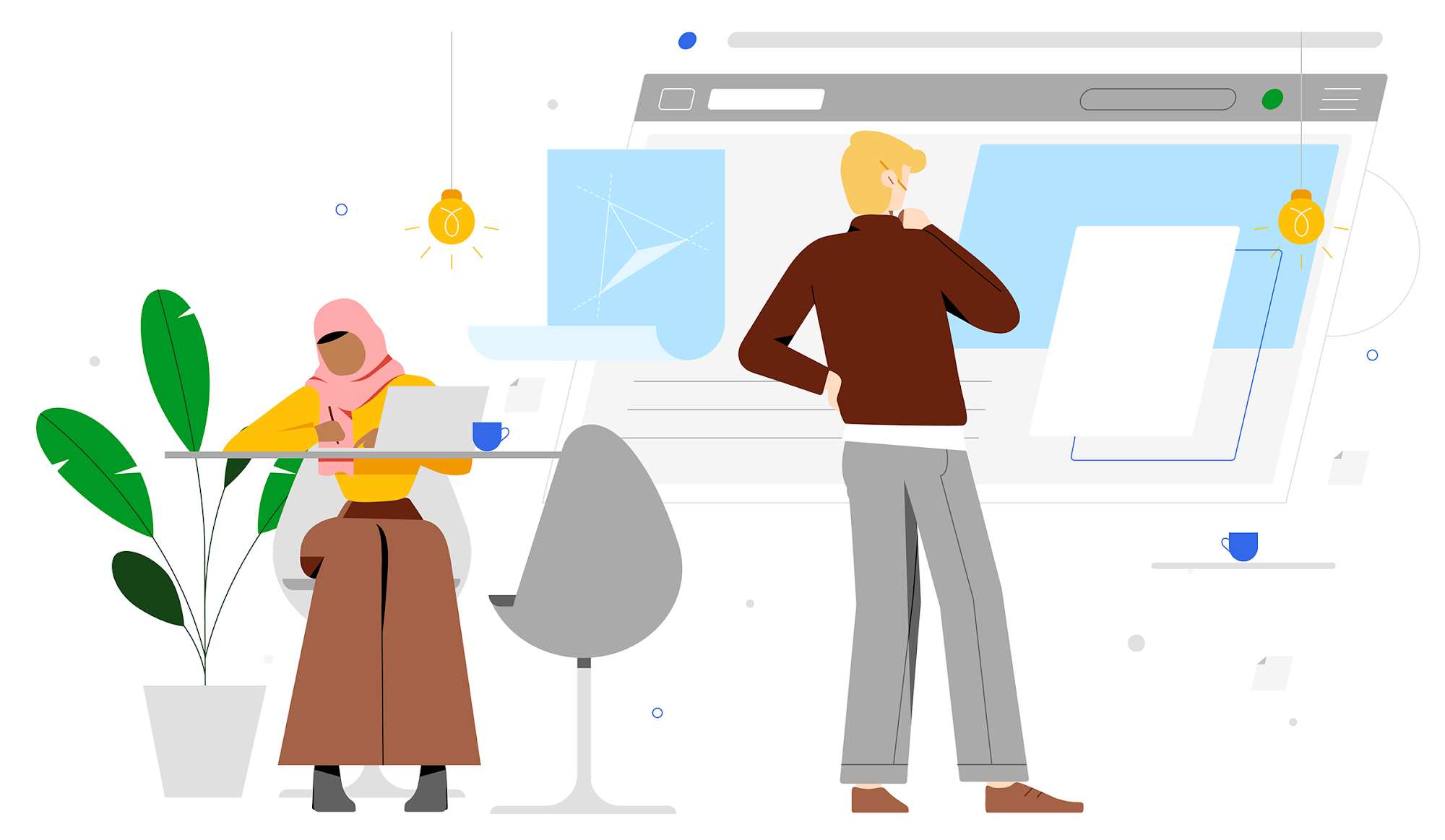 Woman in hijab takes notes at her desk while man scrutinizes content in an abstract browser window