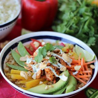 Paleo Cauliflower Rice Chicken Burrito Bowl with Dairy Free Cilantro Lime Crema Recipe