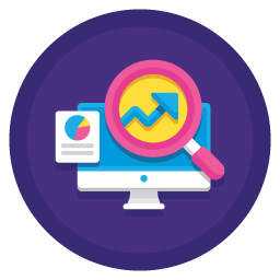 icon with statistics and analysis