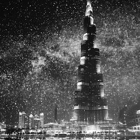 Downtown Dubai by Night by Steve Struttmann - Black & White Buildings & Architecture ( burj,  )