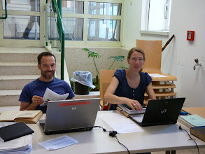 Photo: Jürg and Maria worked hard during the School, adding fossil flowers to our data set.