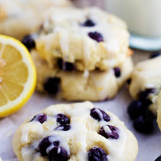 Blueberry Cream Cheese Cookies with a Lemon Glaze