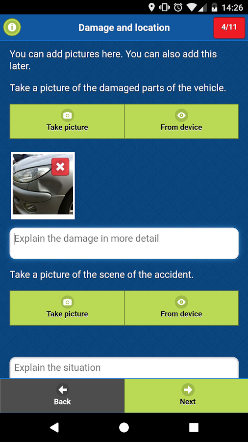 Damage App - Accident Statement- screenshot