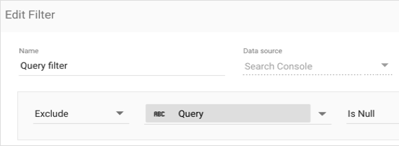 Example filter: Exclude Query Is Null